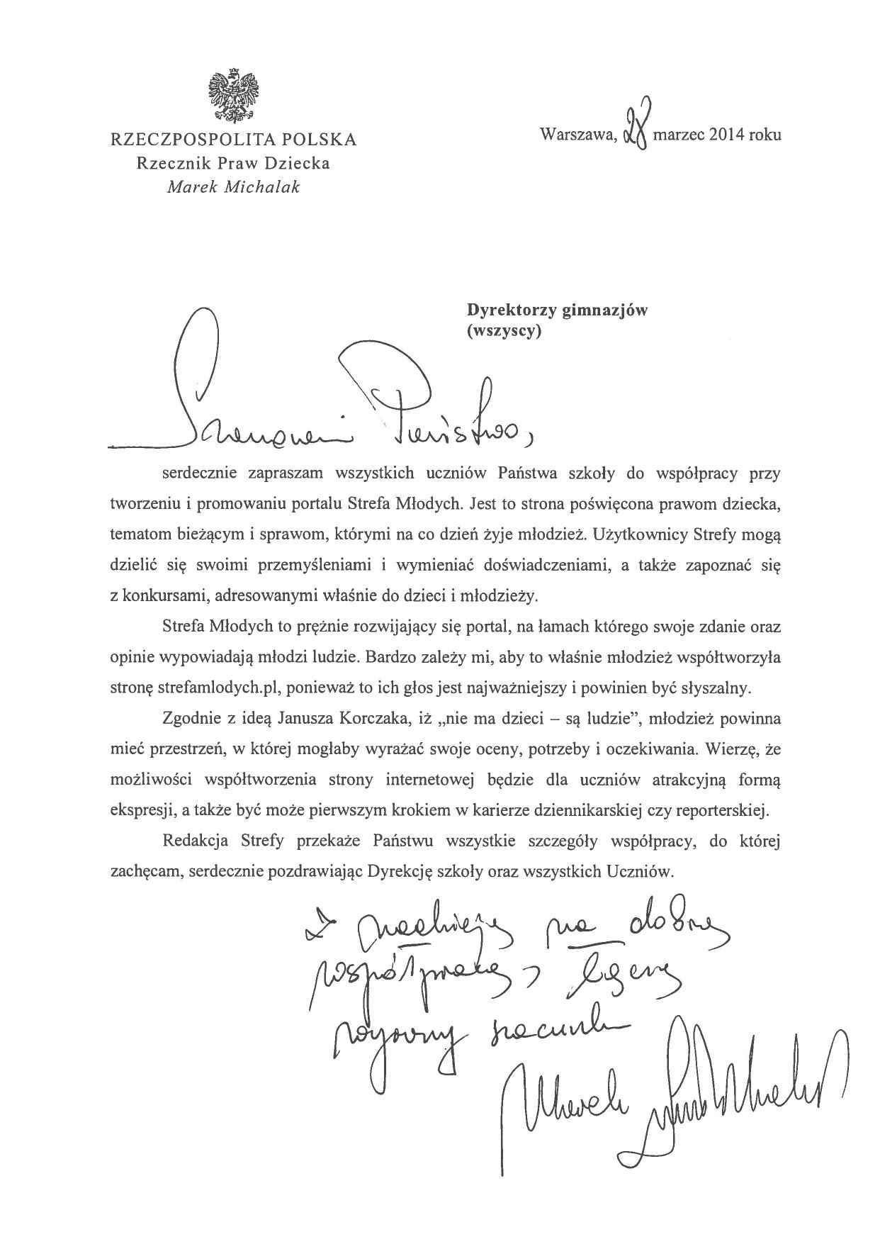 List Rzecznika Praw Dziecka
